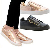 Ladies Womens Flats Plimsolls Twin Zip Skater Pumps Trainers Sneakers Shoes Size