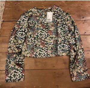 H&m floral satin top size medium