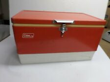 """Vintage """"Coleman"""" Ice Chest - Red Metal Sides"""