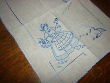 Vintage Dresser Scarf, Table Runner embroidery blue dutch girl with goose linen