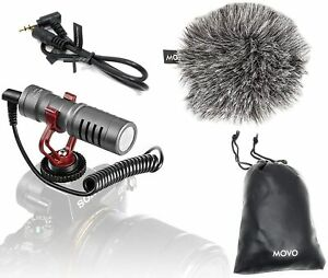 Movo VXR10GY Video Camera Microphone with Shock Mount, Deadcat Windscreen,...