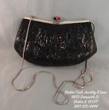 6a021347e1 Judith Leiber Black Snake Skin Clutch Purse   Handbag