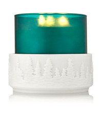 BATH & BODY WORKS WHITE RESIN WINTER PINE TREES 3 WICK CANDLE HOLDER SLEEVE NEW!