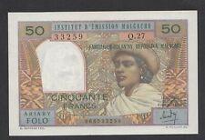 A1459 Madagascar 50 francs 10 ariary 1969 aUNC