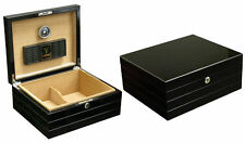 NEW ONYX 50 COUNT CIGAR HUMIDOR BOX WITH HUMIDIFIER & HYGROMETER - GLOSSY BLACK