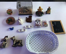 dollhouse miniatures Lot Pets Dog Turtle Fish Gerbil Food Bowls