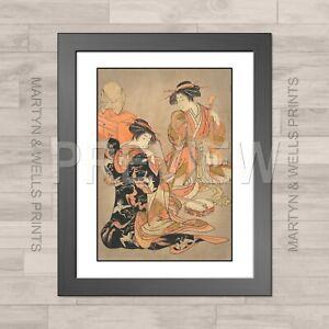 Shigemasa framed print: Vesper Bell. 400mm x 325mm. Textured canvas paper.
