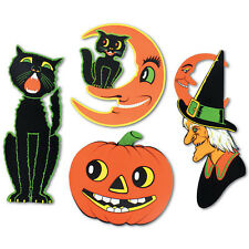 4 Retro Cutout Halloween Decorations Black Cat/Witch++ Vintage Style by Beistle