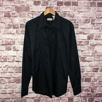 VERSACE Classic Men's 1/2 Button Pullover Shirt Black Cotton Sz 17 Made in Italy