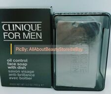 NIB Clinique For Men Oil Control Face Soap With Dish 5.2oz/150g NEW Cleanser