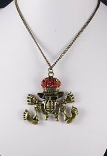 ANTIQUE TONE LONG CHAIN  NECKLACE WITH RED RHINESTONE HAT SKULL
