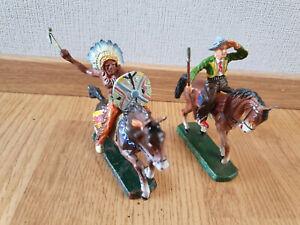 Figuren Konvolut 2 x Elastolin INDIANER & Cowboy auf Pferd Wildwest Masse Top #3