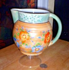 Vintage Peach & Blue Luster-Ware Pitcher with Hand-Painted Flowers~Made In Japan