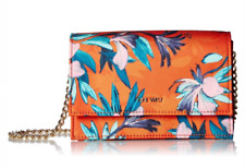 Nine West NWT Orange Crossbody Clutch Mini Anndi Flap Snap Floral Gold Logo