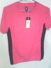 TOMMY HILFIGER MAGENTA NAVY COLOR-BLOCK ANGORA SHORT SLEEVE Sweater M NWT $75.00