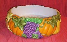 "Partylite Autumn Fall Ceramic Round Centerpiece 8"""