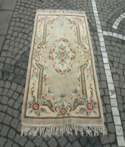 Vintage China Embossed Carpet 3x5 ft Hand Knotted Wool Oriental Living Room Rug