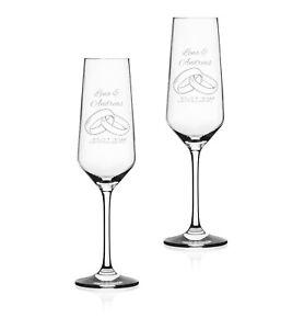 """2x Sektglas mit Wunschgravur """"RINGE"""" Geschenk Hochzeit Jahrestag Liebe"""