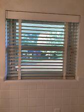 "Vintage 36"" x 32"" White Metal Venetian Window Blind Working Condition W/ Bracket"
