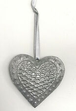Christmas Hanging Sparkly Silver Glitter Heart With Silver Ribbon