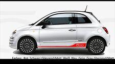 Fiat 500  seiten streifen aufkleber / sticker - verschiedene farben