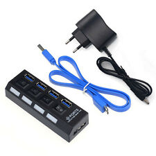 4 Ports USB 3.0 HUB With On/Off Switch Power Adapter For Desktop Laptop EU Perfe