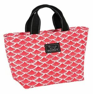 SCOUT NOONER INSULATED LUNCH TOTE BAG: FANGIRL w VIBRANT RED FAN PATTERN