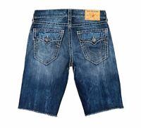 True Religion Men's Ricky Flap Big T Denim Shorts Size 34 Blue Jean NEW $119+