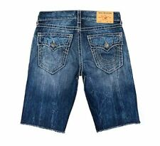 True Religion Men's Ricky Flap Big T Denim Shorts Size 33 Blue Jean NEW $119+