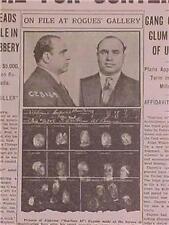 VINTAGE NEWSPAPER HEADLINE ~CHICAGO GANGSTER SCARFACE AL CAPONE IN JAIL CONTEMPT