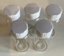 5 x 20ml Small Lab Clear Glass Vial Bottle Container With White Screw Cap