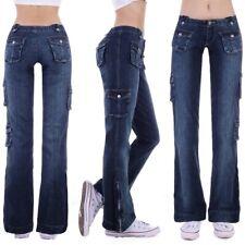 Damen Cargojeans Schlaghose Schlag Bootcut Hose Hüftjeans weites Bein Jeans D25