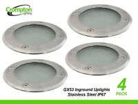 4 x Stainless Steel Inground Garden Up Lights for Illuminating Trees 240V GX53