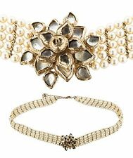 CHANEL Métiers d'Art Paris Pearl Gripoix CC 2012 Bombay Necklace Belt Camellia