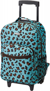 Rockland Double Handle Rolling Backpack, Blue Leopard, 17-Inch, Leopard