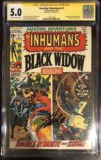 Amazing Adventures 1 CGC SS 5.0 Stan Lee Signed Inhumans Black Widow 1 Of 15