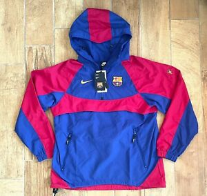 New Mens Nike FC Barcelona Hooded Woven Convertible Jacket CW2934-455 Sz S $130