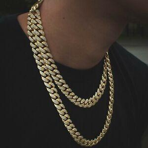 Mens Miami Cuban Link Chain Diamond Real 18k Yellow Gold Solid Lifetime Warranty