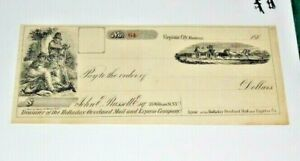 #S212,Overland Stage Mail Virginia City Montana IT1860's Check Rare