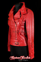 Ladies COSMOPOLITAN Red Designer Rock Fashion Girls Real Leather Jacket