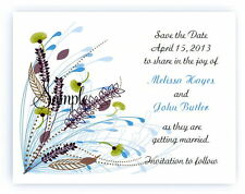 100 Custom Personalized Blue Spring Floral Bridal Wedding Save The Date Cards