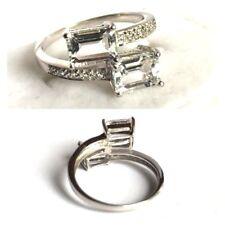 Topasring Silberring 2x klarer Topas Baguetteschliff 925er Silber Ring  Gr. 55