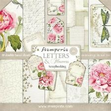 1 Set Scrapbooking Papier 30 x 30 cm letters and flowers SBBL22 Stamperia