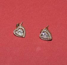 Golden Tone Sterling Silver And Clear Cz Hearts Stud Earrings