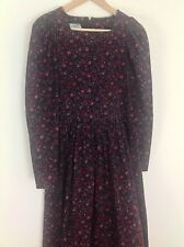 VTG Laura Ashley Black Pinwale Corduroy Floral Rose Full Skirt Modest Dress Sz 8