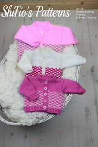 """Knitting Pattern for Babies Round Neck Cardigans Preemie -16"""", 0-3mths -18"""", ..."""
