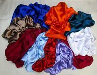LOT SATIN Antique Vintage Sari REMNANT Fabrics 100 GRAMS MIXED COLORS CRAFT DOLL