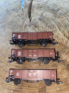 Roco DB Hochbordwagen Europ Braun Güterwagen 3 Stück Hochbordwagen