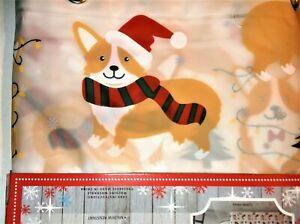 "Holiday CORGI Shower Curtain Peva Vinyl Grommets 72"" X 72"" Christmas Xmas *NEW*"