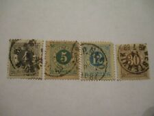 Four Circa Late 1800s Sweden Postage Stamps - 4,5,12,30 Denomination